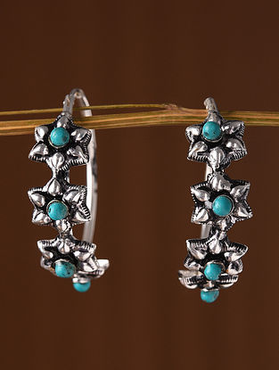 Tribal Dogri Silver Earrings with Turquoise