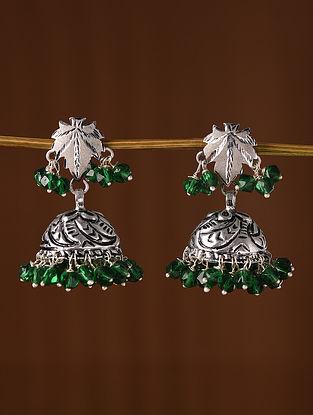 Green Chinar Tribal Silver Earrings