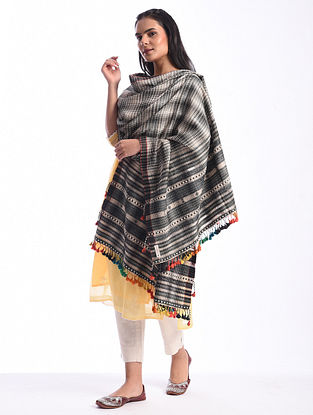 Black Bhujodi Handwoven Silk Cotton Dupatta