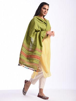 Green Bhujodi Handwoven Silk Cotton Dupatta