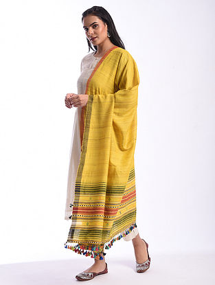Yellow Bhujodi Handwoven Silk Cotton Dupatta