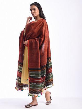 Red Bhujodi Handwoven Silk Cotton Dupatta