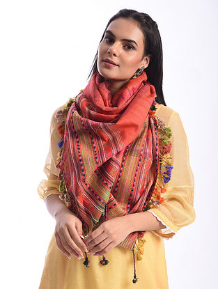 Red Bhujodi Handwoven Silk Cotton Stole