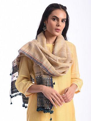 Beige Bhujodi Handwoven Silk Cotton Stole