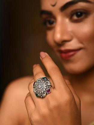 Maroon Green Tribal Silver Adjustable Ring