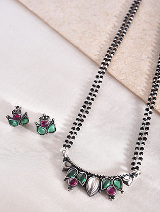 Maroon Green Silver Mangalsutra with Earrings