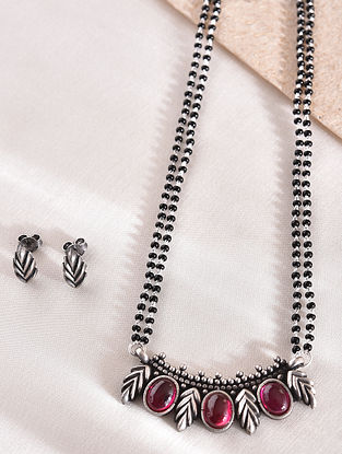 Maroon  Silver Mangalsutra with Earrings