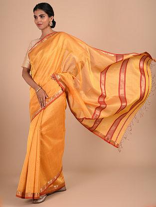 Orange Handloom Maheshwari Saree
