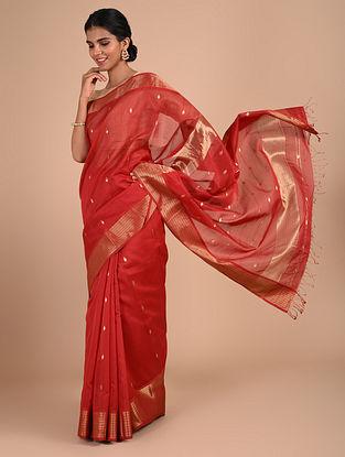 Red Handloom Maheshwari Saree