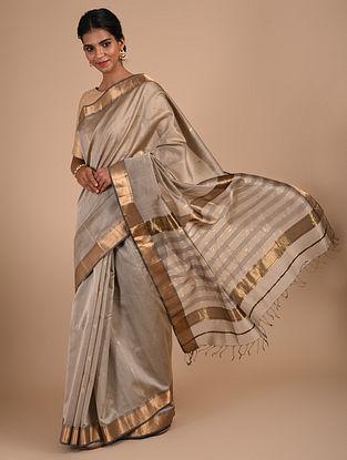 Grey Handloom Maheshwari Saree
