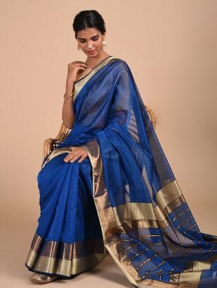 Blue Handloom Maheshwari Saree