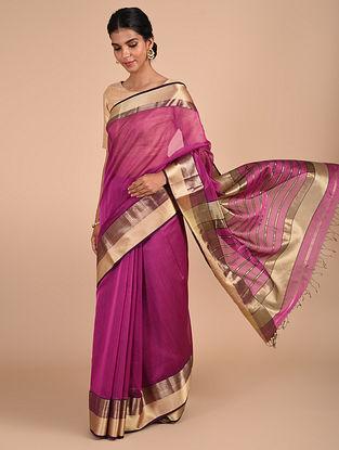 Purple Handloom Maheshwari Saree