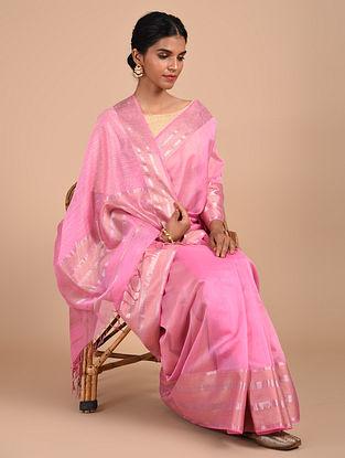 Pink Handloom Maheshwari Saree
