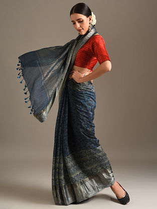 Blue Ajrakh Printed Chanderi Saree