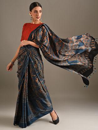 Blue Ajrakh Printed Modal Saree