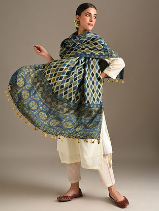 Blue Ajrakh Printed Modal Dupatta