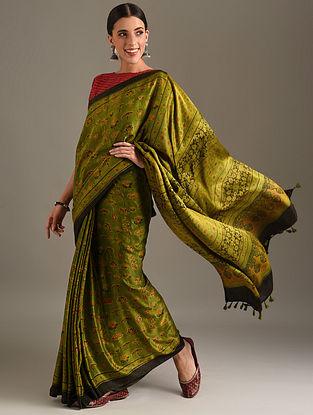 Green Ajrakh Printed Gajji Saree