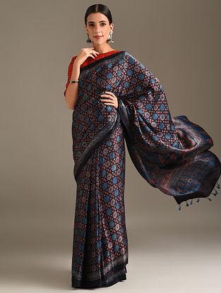 Blue Ajrakh Printed Gajji Saree