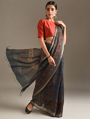 Blue Ajrakh Printed Linen Saree