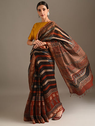 Multicolour Ajrakh Printed Linen Saree
