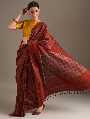 Red Ajrakh Printed Chanderi Saree