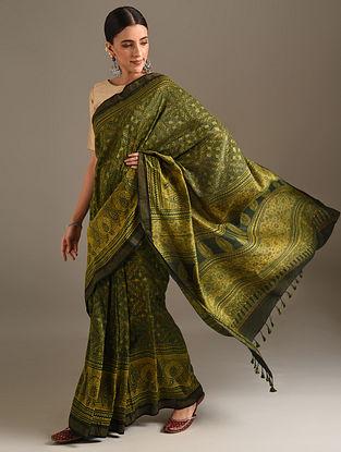 Green Ajrakh Printed Chanderi Saree