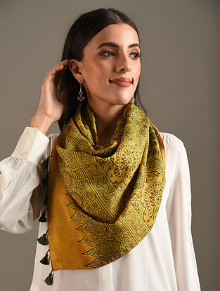 Yellow Ajrakh Printed Mulberry Silk Stole