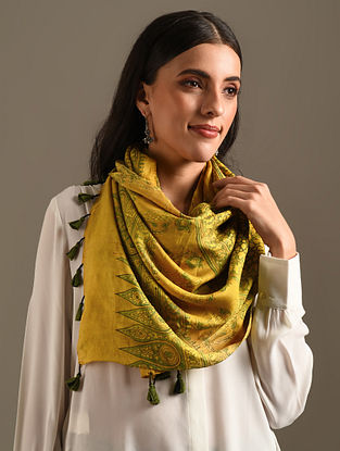 Yellow Ajrakh Printed Gajji Stole