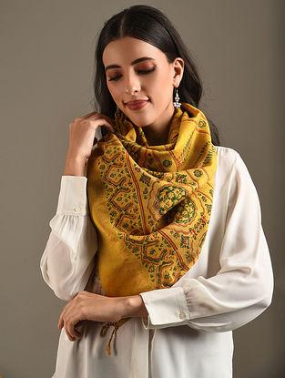 Yellow Ajrakh Printed Chanderi Stole
