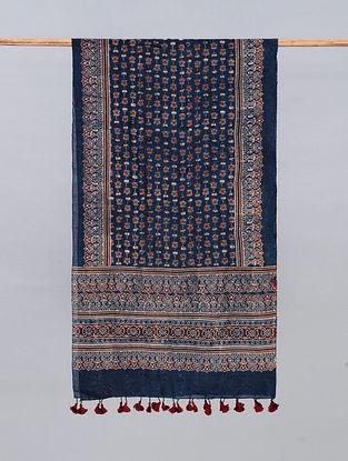 Blue Ajrakh Printed Chanderi Stole