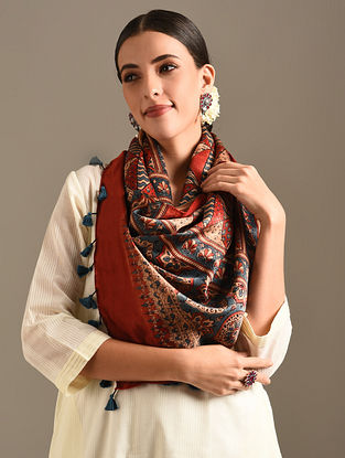 Red Ajrakh Printed Mulberry Silk Stole