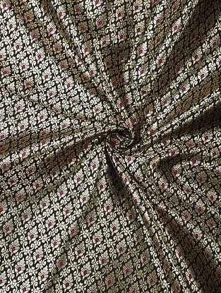 Black Handwoven Brocade Art Silk Fabric