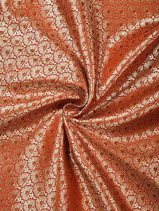 Orange Handwoven Brocade Art Silk Fabric