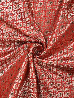 Red Handwoven Brocade Art Silk Fabric