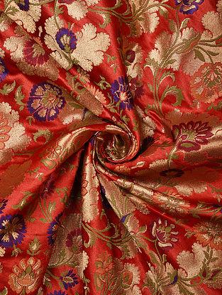 Red Handwoven Kinkhwab Art Silk Fabric