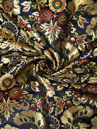 Blue Handwoven Kinkhwab Art Silk Fabric