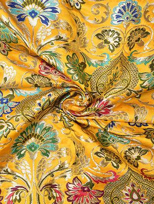 Yellow Handwoven Kinkhwab Art Silk Fabric