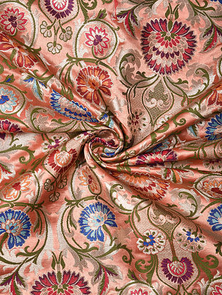 Pink Handwoven Kinkhwab Art Silk Fabric