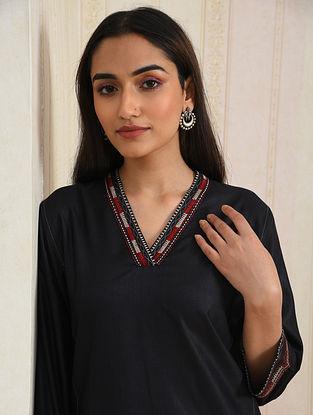 Black Embroidered Viscose Silk Kurta
