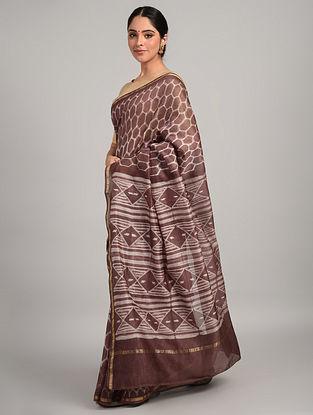 Brown Shibori Chanderi Saree