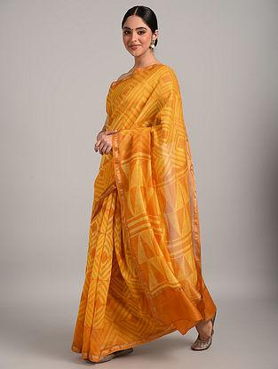 Yellow Shibori Chanderi Saree