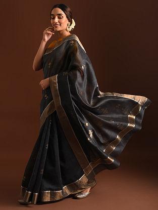 Black Handwoven Chanderi Saree