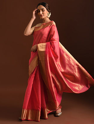 Pink Handwoven Chanderi Saree