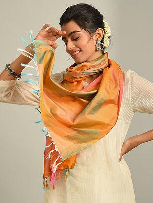 Multicolour  Handwoven Ikat Katan Silk Stole