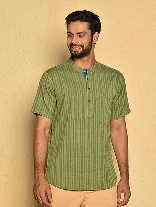 Green Cotton Very Short Kurta