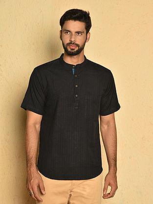 Black Cotton Very Short Kurta