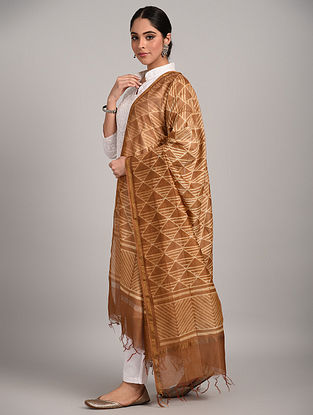Brown Shibori Chanderi Dupatta