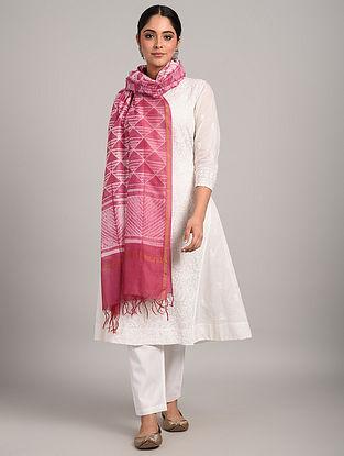 Pink Shibori Chanderi Dupatta