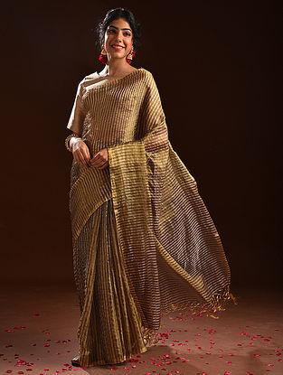 Brown Metallic Tissue Resham Silk Saree