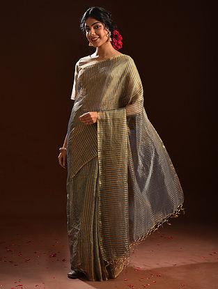 Blue Metallic Tissue Resham Silk Saree